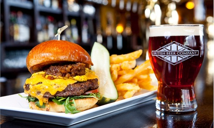 British and American Fare at British Beer Company, Walpole (Up to 42% Off). Two Options Available.