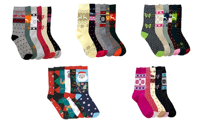 Women's Assorted Holiday Crew Socks (30-Pack)