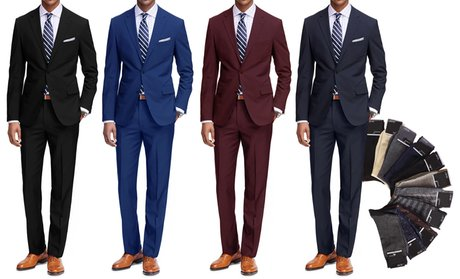 Braveman Classic Fit 2-Piece Suit with Dress Socks