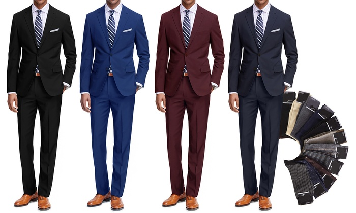 Braveman Classic Fit 2-Piece Suit with Dress Socks | Groupon