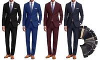 Braveman Mens Classic Fit 2-Piece Suit with Dress Socks (Multiple Colors)