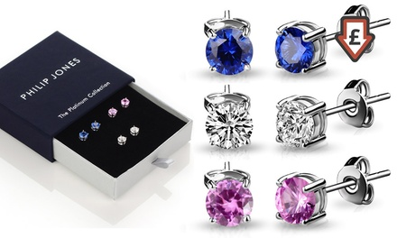 One or Three Pairs of Philip Jones Synthetic Sapphire Earrings in Choice of Colour