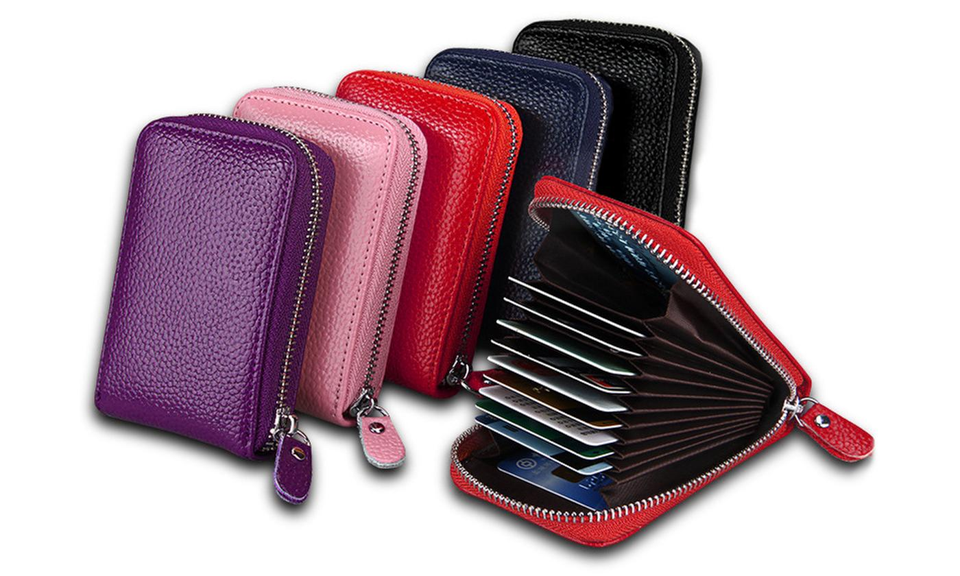 One or Two 11-Slot RFID Blocking Genuine Leather Card Wallets