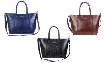 1f6cf6df19 1 ou 2 sacs à main façon croco simili cuir deux anses Carla Belotti, coloris