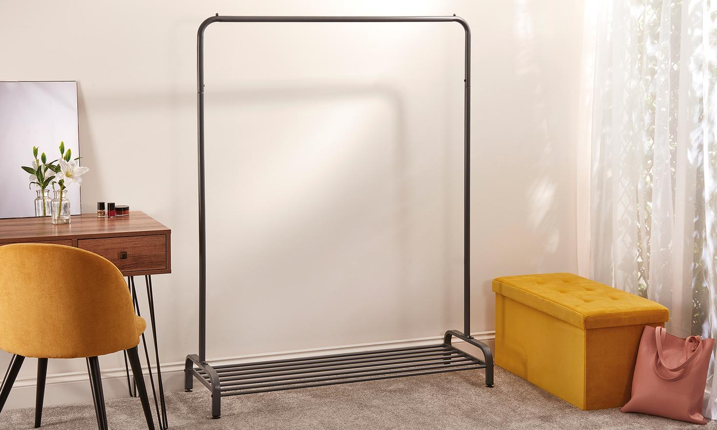 Metal Clothes Rail with Shoe Rack