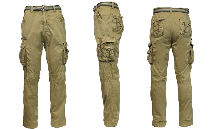 Galaxy by Harvic Men's Belted Cargo Pants (42x32, 48x34, 50x34)