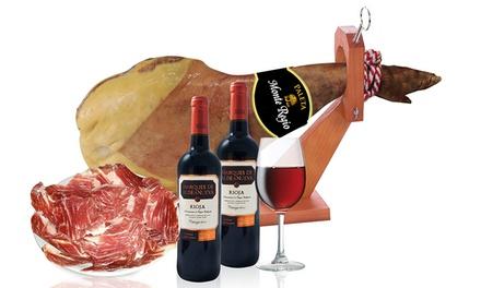 Paletilla de jamón serrano o ibérico + 2 botellas de vino de La Rioja desde 36,99€ (hasta 75% de descuento) envío gratis