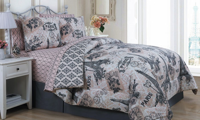 Cherie Collection Reversible Quilt Set Or Bed In Bag Set
