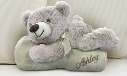 From $29.99 for a Personalised Embroidered Blanket with Plush Dog, Rabbit or Bear (Don't Pay up to $79.99)