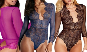 Women's Scallop-Lace Long-Sleeved Teddy Lingerie
