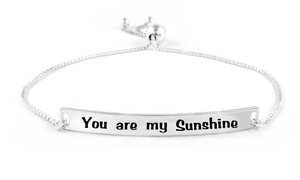 Verona Italian Sterling Silver Adjustable You Are My Sunshine Bracelet