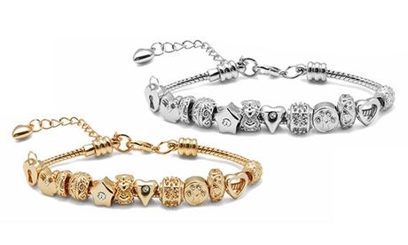 """Sparangebote: """"12 days of love"""" Geschenkbox mit 1 Armband und 12 Charms-Anhänger verziert mit Swarovski® Kristallen"""
