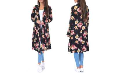 b25a1a3dc7995 Shop Groupon Women s Draped Knee-Length Floral Cardigan. Plus Sizes  Available.