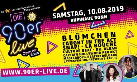 """1 Ticket für die """"90er live"""" Party am 10. August in der Rheinaue in Bonn (33% sparen)"""