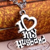 18K White Gold Plated I Love My Spouse Pendants