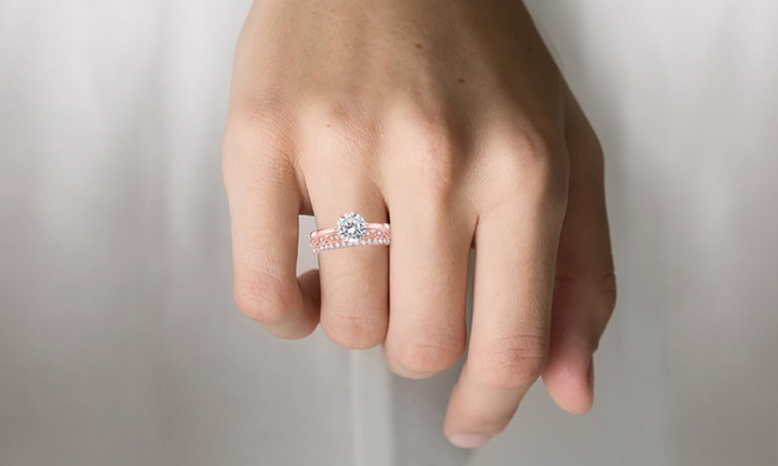 Up To 63 Off On Engagement And Wedding Ring Set Groupon Goods