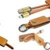 Leather Keychain Android MicroUSB or Android Type C Charging Cable