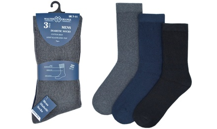 Three or Six Pairs of Men's Diabetic Socks