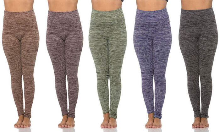 65769a09c91 Tummy-Control Space-Dye Ribbed Fleece-Lined Leggings (5-Pack)
