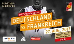 Deutscher Basketball Bund: Basketball: 2 Sitzplatz-Tickets Deutschland vs. Frankreich am 27.08.2017 in der Mercedes-Benz Arena Berlin (50% sparen)