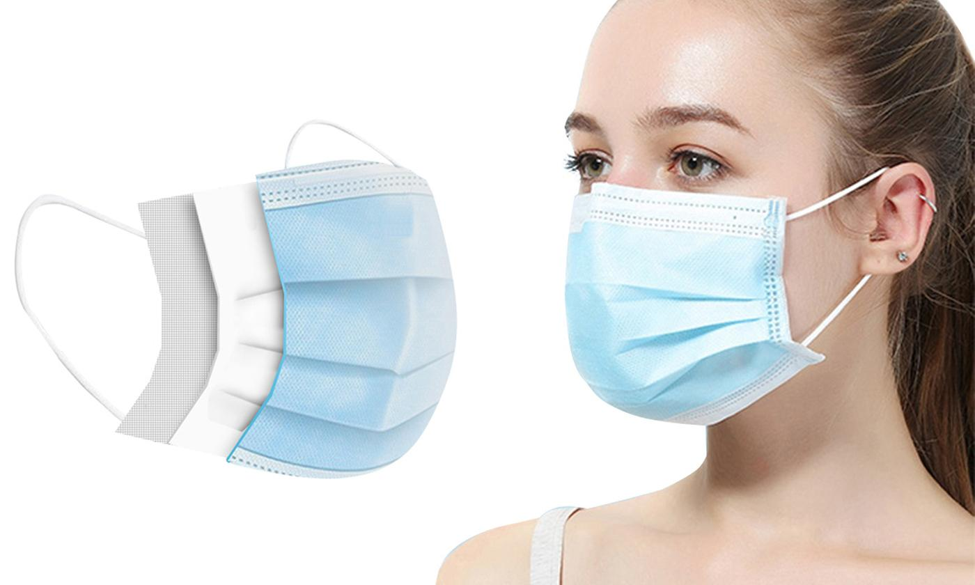 50 or 100 Triple-Layer Disposable Face Masks