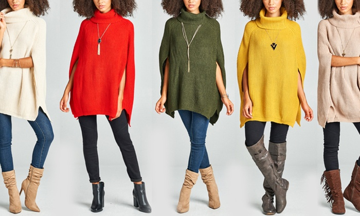 Cable Knit Cowl Neck Cape Sweater Poncho Groupon
