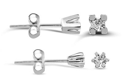 Diamant-Ohrstecker aus Sterlingsilber 925K, 3,5 mm (0,04 ct) oder 4 mm (0,06 ct) (Koln)