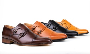 Gino Vitale Mens Monk-Strap Dress Shoes