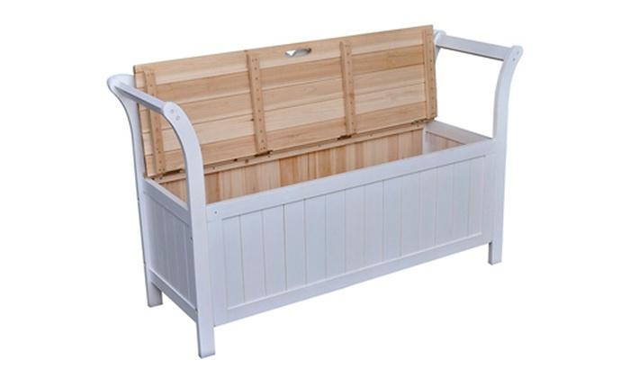 42 off white wooden storage bench groupon for Cassapanche in legno per esterno
