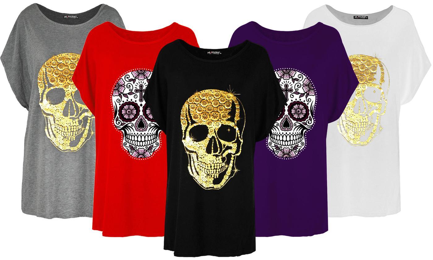 Oops Skull Print Baggy T-Shirt