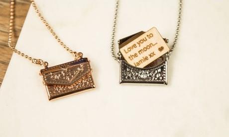 1 o 2 collares de sobre en miniatura con mensaje personalizado desde 6,99 € en Personalised Gift Market