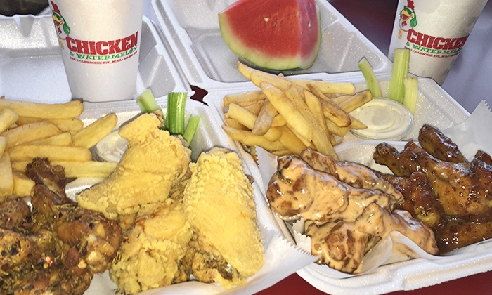 Chicken and Watermelon - Broadmoor: $14 for $20 Worth of Chicken Wings, Fries, and Watermelon Punch at Chicken and Watermelon
