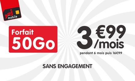 NRJ Mobile, pour 1€, bénéficiez de votre forfait appels, SMS et MMS illimités + 50 Go d'internet à 3,99€/mois*