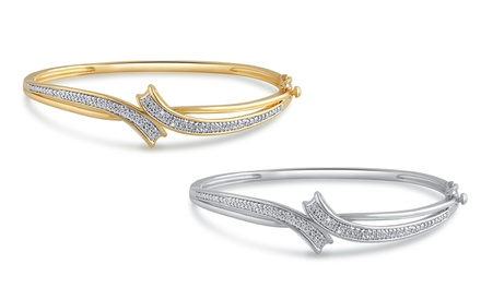 Diamond Accent Bangle in 14K Gold Plating by Brilliant Diamond