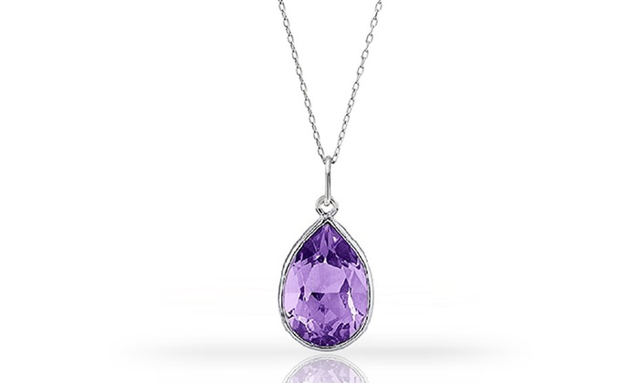 3 00 Ctw Genuine Amethyst Pendant In Sterling Silver