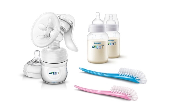 Philips Avent Manual Breast Pump With Anti Colic Bottles And