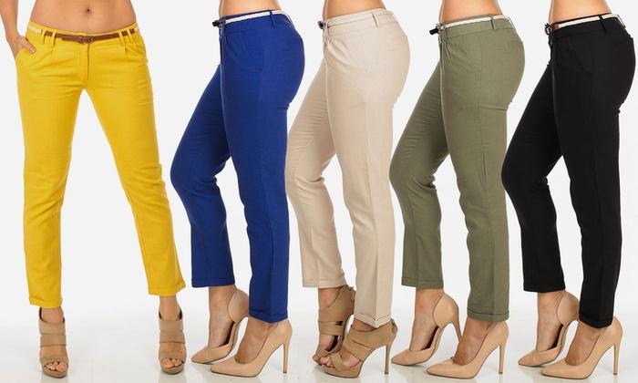 Junior Fit Women's Linen-Blend Cropped Pants with Belt