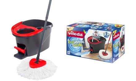 Vileda Easywring & Clean Wischmopp Komplettset bestehend aus 100% Mikrofaser Wischmopp und Eimer mit Powerschleuder