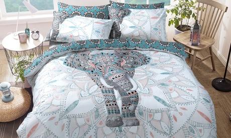 Set funda nórdica Elefante y Mandalas con 1 o 2 fundas de almohada
