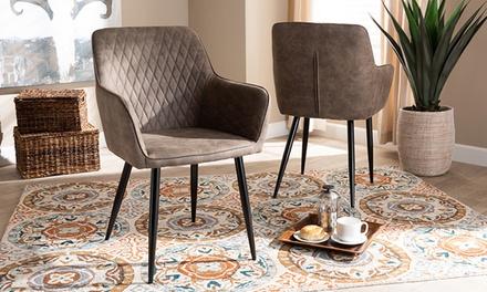 Baxton Studio Belen Upholstered Metal Dining Chair (2-Pack)