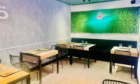 Menú de parrillada para 2 con entrante, principal, postre y bebida en Cromia