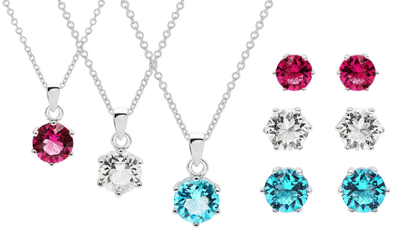 OMG Jewel Birthstone Pendant and Earrings Set with Crystals from Swarovski®