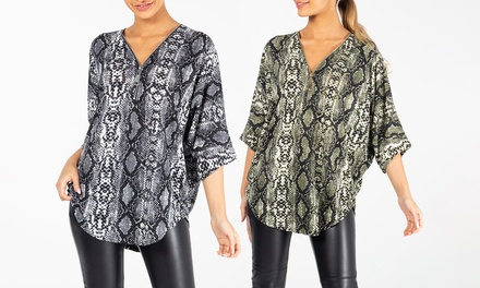 QED London Snake Print Top