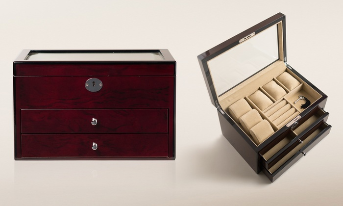 GlassTop Jewelry Box Groupon Goods