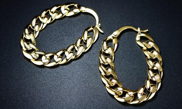 18k Gold Plated Chain Dangle Earrings By Sevil