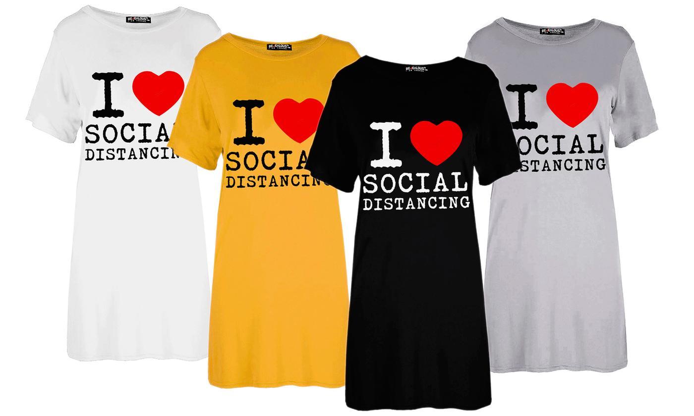 Oops I Love Social Distancing Baggy T-Shirt Dress