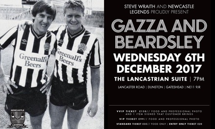 An Evening with Paul Gascoigne and Peter Beardsley on 6 December 2017 (Up to 43% Off)