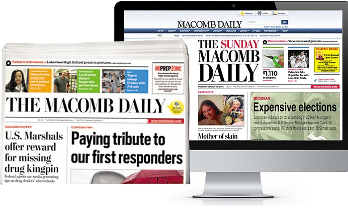 The Macomb Daily - Detroit: 13-Week Daily or 52-Week Sunday Subscription, Each with E-Paper Access to the Macomb Daily (Up to 67% Off)