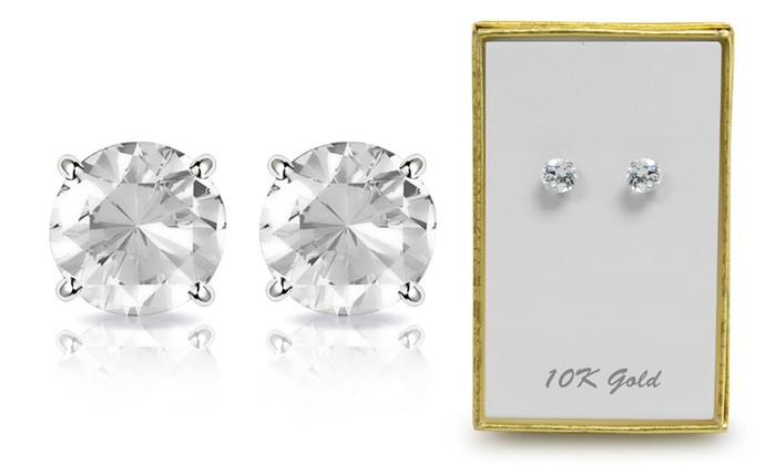 2 00 Cttw Genuine White Topaz Stud Earrings In 10k Gold By Muiblu Gems