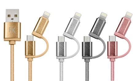 Cable with Lightning® Connector, Micro USB, or Two-in-One Cables for Smartphones